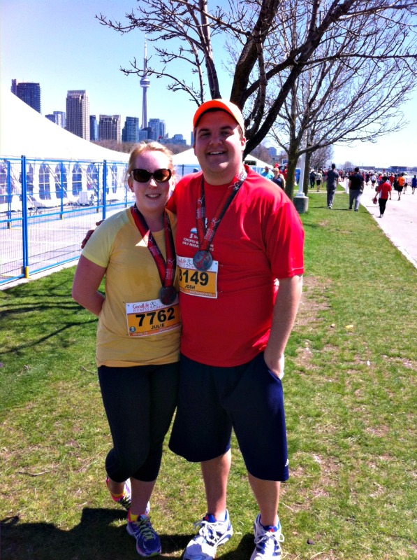 After our second Half Marathon, the Goodlife Half. I felt like I was gonna die the whole time. Josh kept me going.