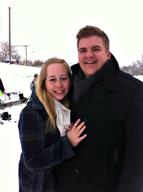 After Josh Proposed! On out favorite ice rink after an around town scavenger hunt!